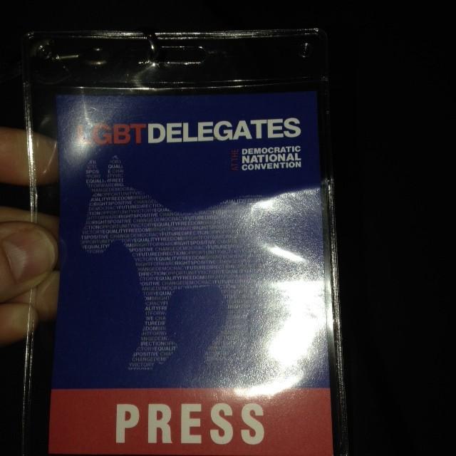 """אישור כניסה לשמוע את מישל אובמה נואמת בפני ועידת הלהט""""ב הדמוקרטית, 2008"""