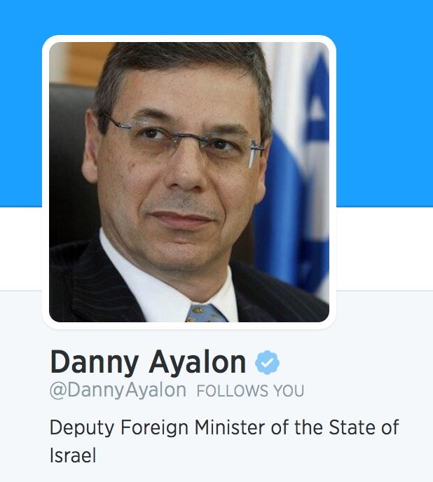 זה הוא לא סגן שר החוץ של מדינת ישראל. צילום מסך מחשבון הטוויטר של דני איילון, היום.
