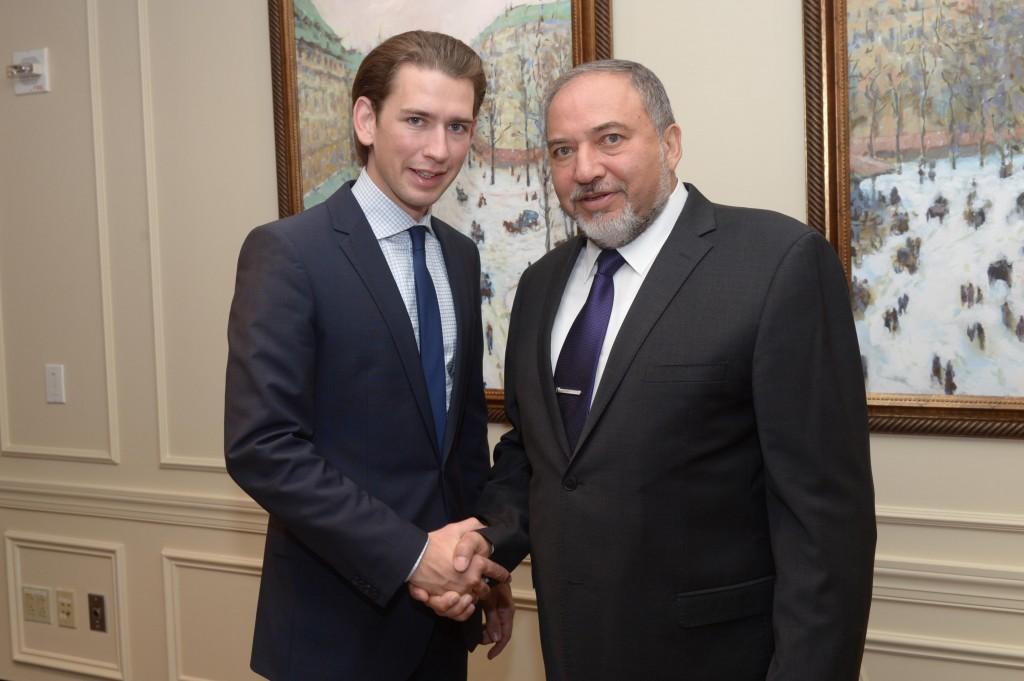 פגישת שר החוץ, אביגדור ליברמן, עם שר החוץ של אוסטריה, סבסטיאן קורץ, הבוקר בניו-יורק.