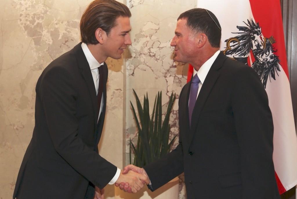 יו״ר הכנסת יולי אדלשטיין עם שר החוץ האוסטרי סבסטיאן קורץ, 2 באוקטובר, וינה. קרדיט: לשכת יו״ר הכנסת
