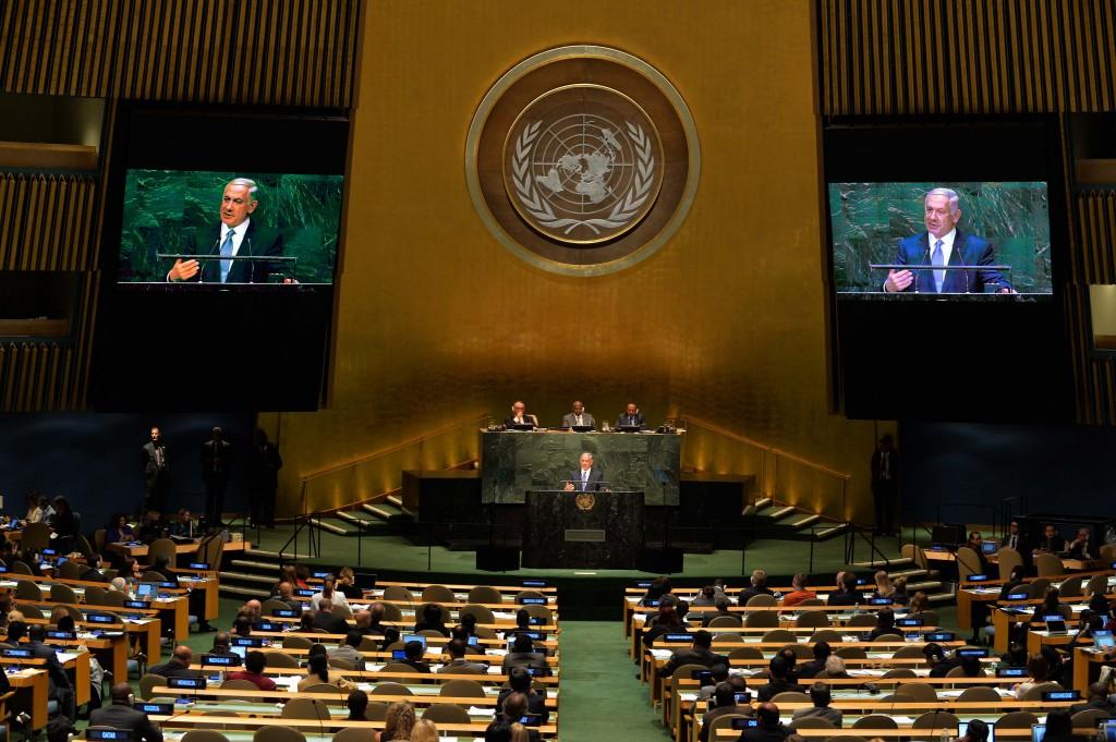 """ראש הממשלה נתניהו נואם באו״ם, 29 בספטמבר 2014. צילום: אבי אוחיון, לע""""מ"""