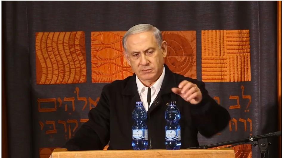 ראש הממשלה נתניהו בעת ביקור בהתנחלות עלי, 11 בפברואר 2014 (צילום מסך של וידאו מתוך עמוד הפייסבוק של ראש הממשלה)