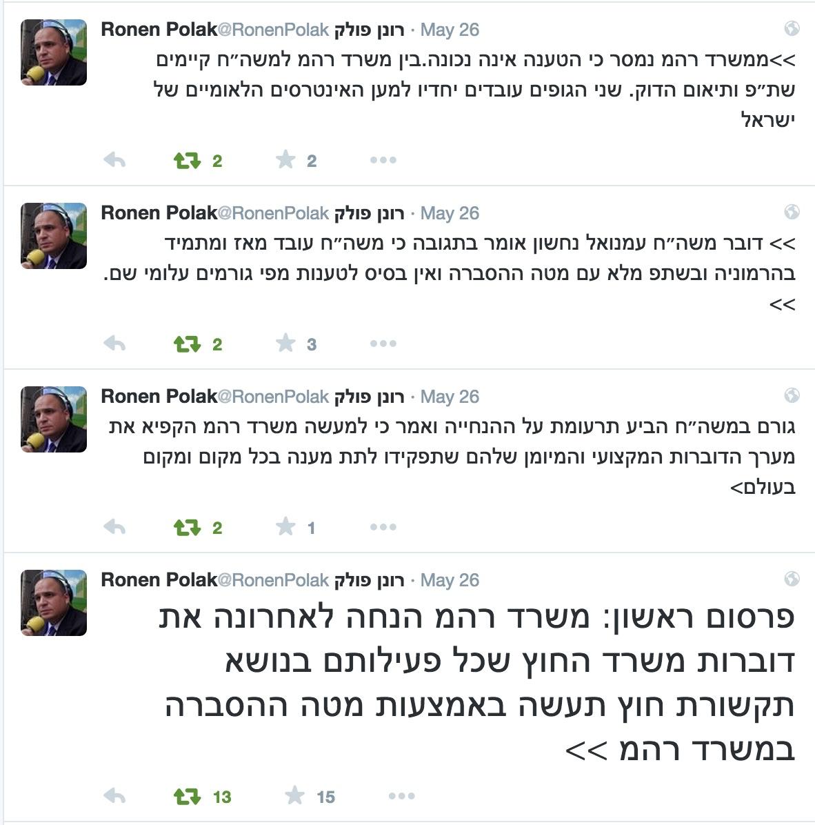 סדרת הציוצים של הכתב המדיני פולק, אשר גם שודרו ברשת ב׳ באותו היום