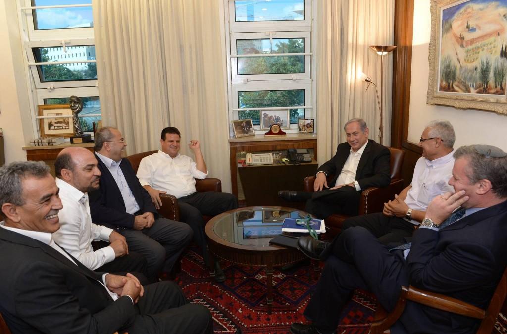 נתניהו והח״כים הערביים סוף אוגוסט 2015