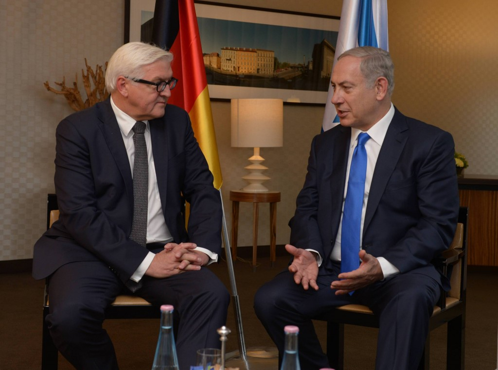 Meeting of Israeli Prime Minister Benjamin Netanyahu with German Foreign Minister Frank Walter Steinmeier in Berlin. Photo: Amos Ben Gershom GPO