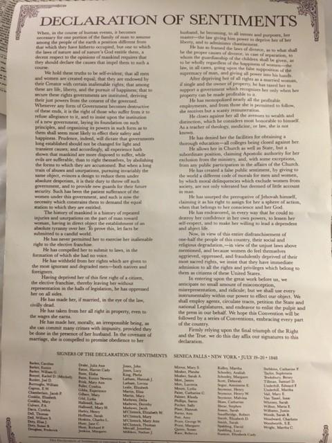 הצהרת הסנטימנטים ומאה החותמות על הניסוח שנתפס אז כרדיקלי, 1848 (נוסח משוחזר)