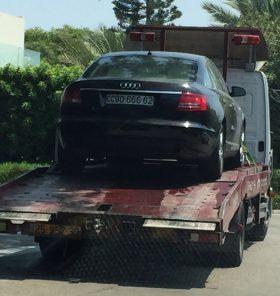 צפו: גרר מעמיס את רכבו הקונוסלרי של גנור