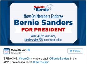 MoveOn תומכים בסנדרס, קרוז מוביל על טראמפ באיווה