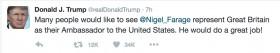 טראמפ רוצה את פאראג׳ כשגריר בריטניה לארה״ב